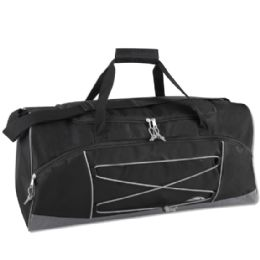 24 Units of Trailmaker 26 Inch Bungee Duffel Bag Black Color Only - Duffel Bags