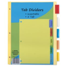 96 Units of 5 Pack Tab Dividers - Tab Dividers