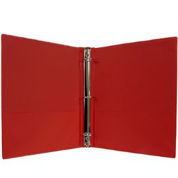 "24 Units of 1"" Hard Cover (PVC Free) 3-Ring Binder - Red - Binders"