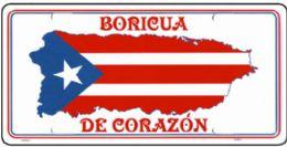 """24 Units of """"boricua De Corazon"""" Metal License Plate - Auto Accessories"""