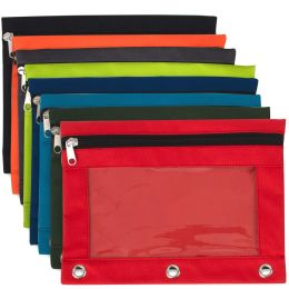 96 Units of 3 Ring Binder Pencil Case With Window - 8 Color Assortment - Pencil Boxes & Pouches
