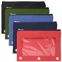 96 Units of 3 Ring Binder Pencil Case With Window - 5 Color Assortment - Pencil Boxes & Pouches