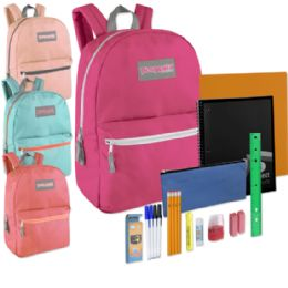 24 Units of Preassembled 17 Inch Backpack & 12 Piece School Supply Kit - Girls Colors - School Supply Kits