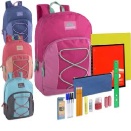 12 Units of Preassembled 17 Inch Bungee Backpack & 12 Piece School Supply Kit - Girls Colors - School Supply Kits