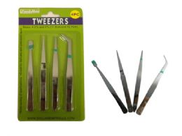 144 Units of 4 Pc Tweezers - Office Supplies
