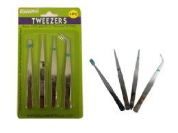 144 Units of 4 Pc Tweezers - Office Supplies