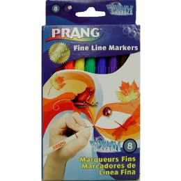 72 Units of Washable Fine Line Markers - 8 Ct - Asst. Colors - Markers