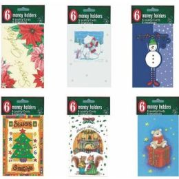 60 Units of Christmas Money Holder - 6 pack - Christmas Novelties