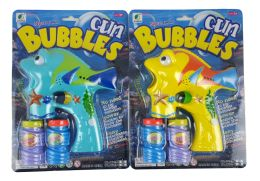 48 Units of SOLID BIG FISH BUBBLE GUN WITH/ LIGHT AND MUSIC YELLOW AND BLUE - Bubbles