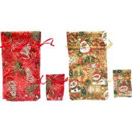 60 Units of Fancy Christmas Glitter Gift Bag, 2pk - Gift Bags Christmas