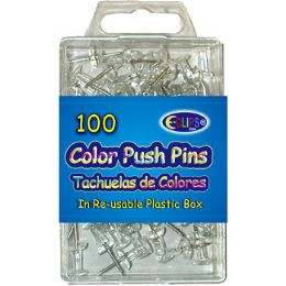 48 Units of 100 Count Clear Push Pins - Push Pins and Tacks