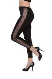 12 Units of Women's Black Net-Stripe Leggings - Womens Leggings