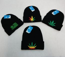 12 Units of Knit Toboggan [Embroidered Marijuana Leaves Assortment] - Winter Beanie Hats