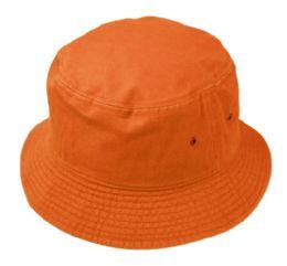 12 Units of Plain Cotton Bucket Hats In Orange - Bucket Hats