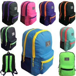 """24 Units of 19 Inch Large Dual Compartment Two Tone Back to School Backpack in 8 Assorted Colors - Backpacks 18"""" or Larger"""