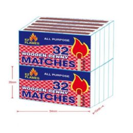 12 Units of 10pk 32ct Wooden Penny Matches - BBQ supplies