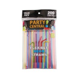 48 Units of 200pk Party Central Flexible Neon Straw - Straws and Stirrers