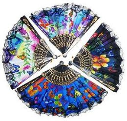 120 Units of Butterfly, Flowers And Lace Folding Hand Fans - Home Decor