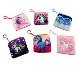 "24 Units of 5""x4.75"" Printed Unicorn Change Purse - Leather Purses and Handbags"