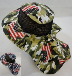 12 Units of Cotton Boonie Hat With Cloth Flap [mesh] *army Camo/flag Print - Cowboy & Boonie Hat