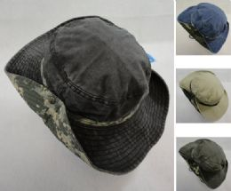 12 Units of Cotton Washed Floppy Boonie [Camo Band] - Cowboy & Boonie Hat