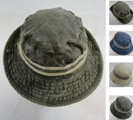12 Units of Cotton Washed Floppy Boonie [double Band] - Cowboy & Boonie Hat