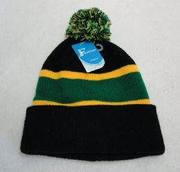 12 Units of Double-Layer Knitted Hat with PomPom [Black/Green/Gold] - Fashion Winter Hats