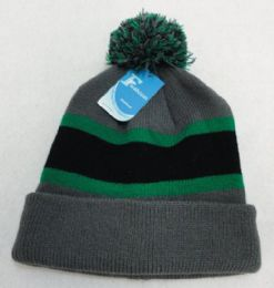 12 Units of Double-Layer Knitted Hat with PomPom [Black/Green/Gray] - Fashion Winter Hats