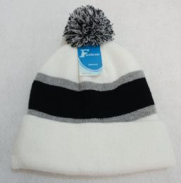 12 Units of Double-Layer Knitted Hat with PomPom [Black/Light Gray/White] - Fashion Winter Hats