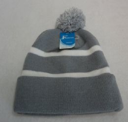 12 Units of Double-Layer Knitted Hat with PomPom[Dark Gray/Light Gray] - Fashion Winter Hats