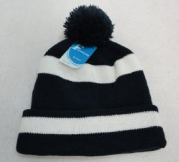 12 Units of Double-Layer Knitted Hat with PomPom [Navy/White] - Fashion Winter Hats