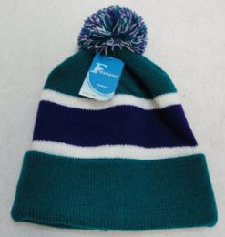 12 Units of Double-Layer Knitted Hat with PomPom [Teal/Purple] - Fashion Winter Hats