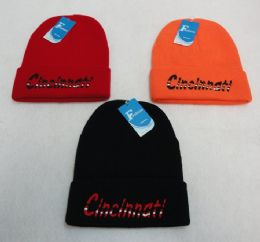 36 Units of Knitted Toboggan [Wavy CINCINNATI] - Winter Beanie Hats