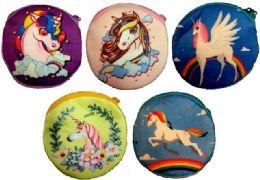 12 Units of Wholesale Cartoon Unicorn Coin Purse Assorted Colors - Leather Purses and Handbags