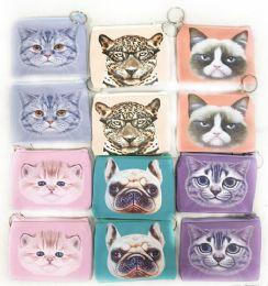 12 Units of Wholesale Pastel Color Cat & Dog Coin Purse Assorted Colors - PURSES/WALLETS
