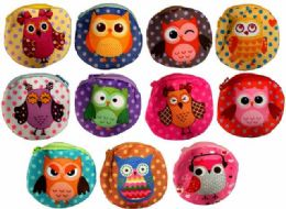 12 Units of Wholesale Polka Dot Cartoon Owl Coin Purse Assorted - PURSES/WALLETS
