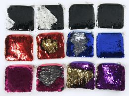 12 Units of Wholesale Square Dual Color Sequins Coin Purse Assorted - PURSES/WALLETS