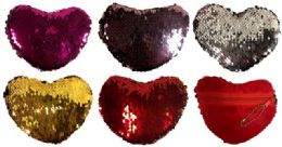 12 Units of Wholesale Dual Color Sequins Heart Shaped Coin Purse Assorted - PURSES/WALLETS