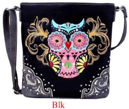 Wholesale Western Cross Body Sling Purse with Colorful Owl Black - PURSES/WALLETS