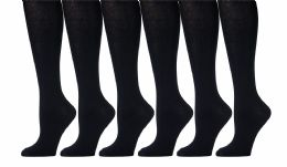 6 Pairs of Womens Knee High Socks, Cotton, Flat Knit, Solid Colors (Black) - Womens Knee Highs