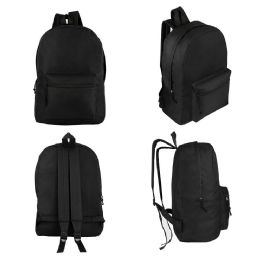 "24 Units of 17"" Kids Basic Black Backpacks - Backpacks 17"""