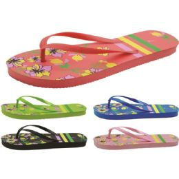 60 Units of Women's Flower Printed Flip Flops - Women's Flip Flops