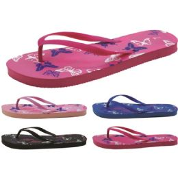 60 Units of Women's Butterfly Printed Flip Flops - Women's Flip Flops