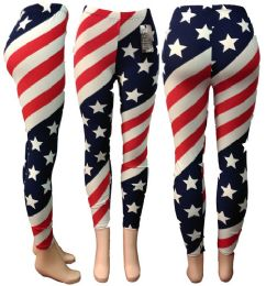 24 Units of American Flag All Over Print Legging One Size - Womens Leggings