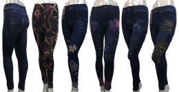 24 Units of Denim Print Leggings in Assorted Patterns - Womens Leggings