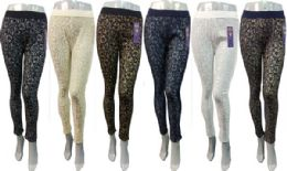 24 Units of Wholesale Flower Lace Legging Assorted Colors One Size - Womens Leggings