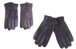 36 Units of Mens Leather Gloves With Zipper 36 Pairs Black And Brown Assorted - Leather Gloves