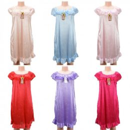 24 Units of Women Pajama Night Gown Short Sleeve Assorted Colors - Women's Pajamas and Sleepwear
