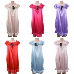 24 Units of Women Pajama Night Gown Short Sleeve Solid Colors - Women's Pajamas and Sleepwear