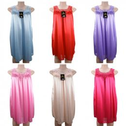 24 Units of Women Pajama Night Gown No Sleeve Lace Shoulders - Women's Pajamas and Sleepwear